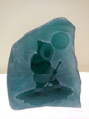 Siku Etched Canadian Art Glass Sculpture Inuit Snow Shoeing for Sale in Lorton, VA