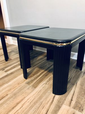 Stunning Black Refurbished End Tables with gold strip! Set of 2 for Sale in Hanover Park, IL