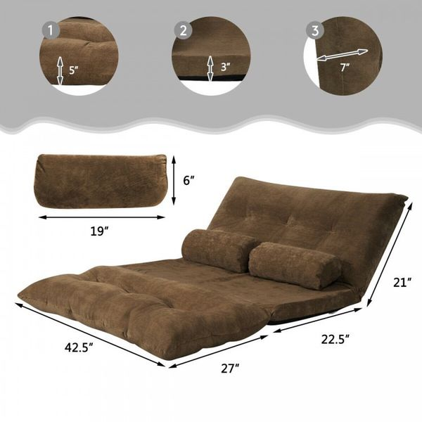 6-Position Adjustable Sleeper Lounge Couch with 2 Pillows