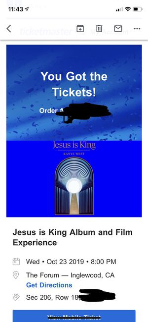 Kanye West tickets for sale Jesus is king forum for Sale in Los Angeles, CA