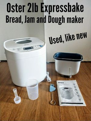 Oster Bread, Dough and Jam maker - 2 lb capacity, 1 hour expressbake breadmaker Used, like new for Sale in Malden, MA