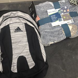 New Adidas backpack and glow in the dark sports blanket for Sale in Princeton, NJ