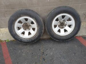 Two Ford ranger 15 inch steel rims 5 on 4.5 steel rims with old tires for Sale in Montebello, CA