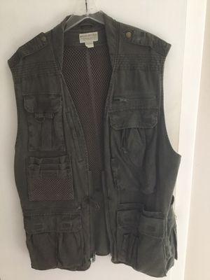 Fishing Vest,BananaRepublic Large size, with many pockets along with fishing tackle box and tackle. for Sale in Pittsford, NY