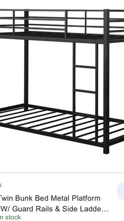 Twin Over Twin Bunk Bed Metal Platform Bed Frame W/ Guard Rails & Side for Sale in Anaheim,  CA