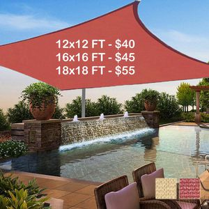 New 12x12 Patio Pool Deck Sunshade Sail Canopy Shade (ROPES AND HOOKS INCLUDED) for Sale in Corona, CA