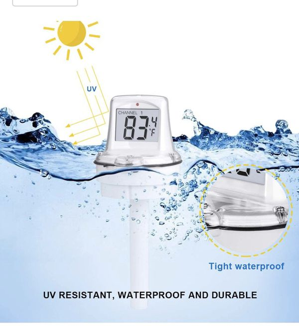 Wireless Pool Floating Thermometer Easy Read for Swimming Pool, Bath Thermometer with LCD Display Base Station for Spa Pool, Hot Tubs, Aquariums and
