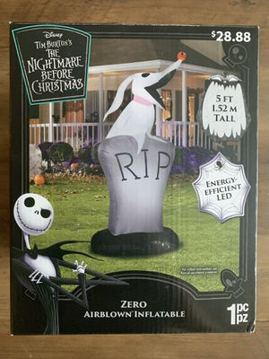 5 FT NIGHTMARE BEFORE CHRISTMAS ZERO R.I.P HALLOWEEN INFLATABLE NIB for Sale in Pinellas Park, FL
