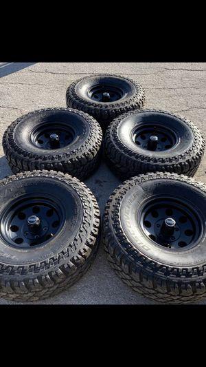 "Like New black American Racing Rims & 35"" Tires Wheels Jeep Wrangler Rines y llantas 2016 Jeep 2017 JK 2015 2016 wrangler 2014 Jku 2013 rines 2011 y for Sale in Dallas, TX"
