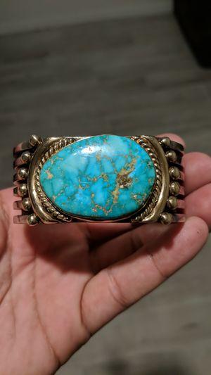 Albert Lee Sterling Silver & 14k Gold Turquoise Cuff Bracelet for Sale in El Mirage, AZ