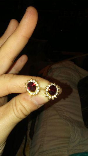 Womens gold earings with white and red diamonds for Sale in Auburndale, FL