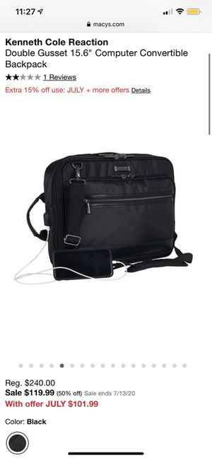 Kenneth Cole Reaction Convertible Laptop Case and Backpack for Sale in Brookline, MA