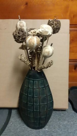 Black vase with wooden flowers decor. for Sale in North Ridgeville, OH