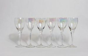 Vintage Glassware, Carnival Iridescent Glassware, Wine Glasses, Glassware, Vintage, Dorothy Thrope Style, Water Goblets, Goblets, Set of 6 for Sale in Beverly Hills, CA