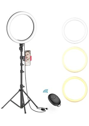 "10"" Selfie Ring Light with Tripod Stand & Phone Holder for Live Stream/Makeup for Sale in Houston, TX"