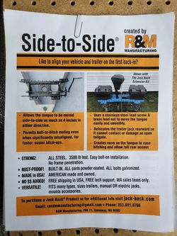 New product. Side to side. for Sale in Spanaway,  WA