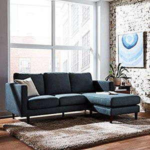 """NEW! IN BOX Rivet Revolve Mid-Century Modern Reversible Chaise Sectional Sofa Couch, 80""""W, Denim In The Box for Sale in Hayward, CA"""