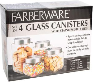 NEW Farberware 4-pc. Square Glass Canister Set for Sale in Arlington, TX