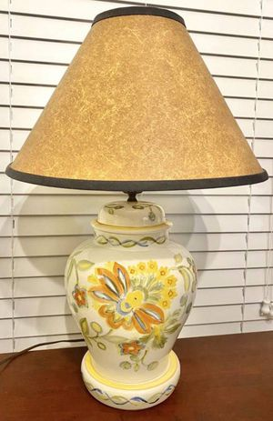 Vintage Antique Mid Century Modern MCM Ceramic Porcelain Ginger Jar Yellow Flowers Floral Table Lamp for Sale in Chapel Hill, NC
