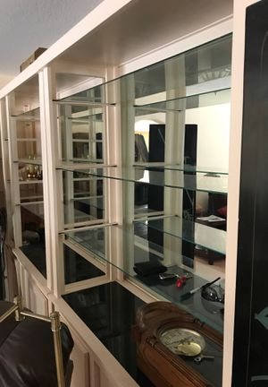 Glass shelves and marble top custom wall cabinet for Sale in Las Vegas, NV