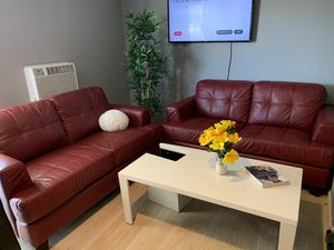 Red leather sofas set of 2 couches for Sale in Chino Hills, CA