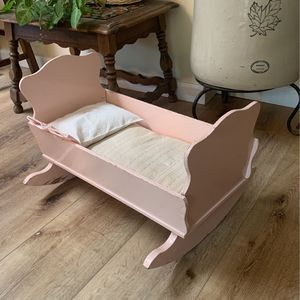 Vintage Baby Doll Cradle W Feather Bed & Pillow for Sale in San Diego, CA