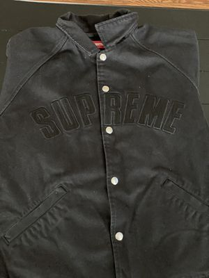 Black Supreme Snap Front Twill Jacket Size Small for Sale in Silver Spring, MD