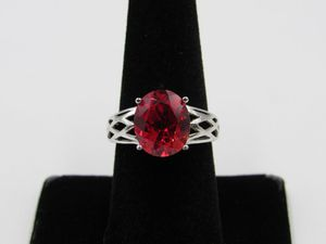 Size 8 Sterling Silver Stunning Red Ruby Stone Band Ring Vintage Statement Engagement Wedding Promise Anniversary Bridal Cocktail Friendship for Sale in Everett, WA