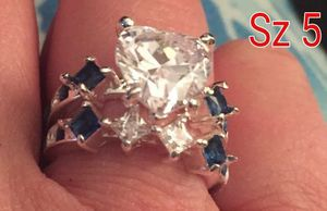 Sterling silver band's. White & blue cz diamonds & large heart. Sz 5 for Sale in Glen Burnie, MD