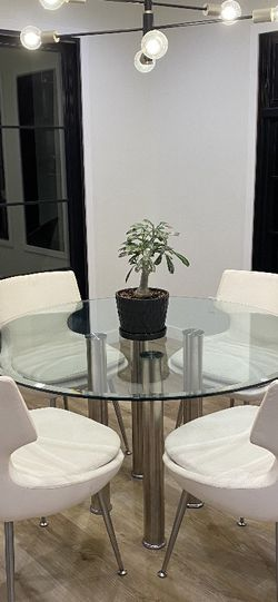 Round Glass Dining Table With Metal Legs for Sale in Los Angeles,  CA