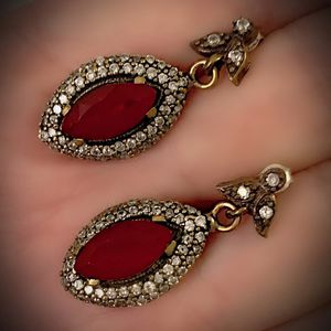 PIGEON BLOOD RED RUBY EARRINGS Solid 925 Sterling Silver/Gold WOW! Brilliantly Faceted Marquise Cut Gemstones, Diamond Topaz M5932 V for Sale in San Diego, CA