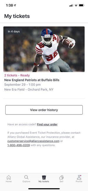 2 tickets to Bills vs Patriots 150$ each for Sale in North Tonawanda, NY