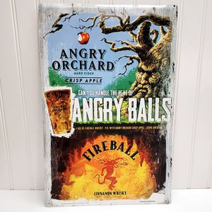 """FIREBALL WHISKEY APPLE ORCHARD """"ANGRY BALLS"""" TIN SIGN 11.5 X 17.5 Man Cave for Sale in Roseville, CA"""