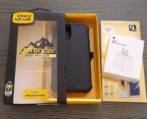 iPhone 12 mini Otterbox Defender Series Case/USB-C 20W Adapter/Tempered glass screen protector included for Sale in Canyon Country, CA