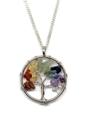 7 chakras beaded wire wrapped tree of life necklace for Sale in Queen Creek, AZ