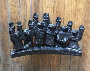 Vintage Cast Iron Brutalist Menorah Candelabra for Sale in Los Angeles, CA