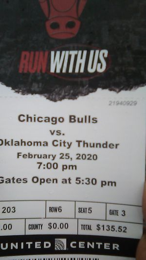 Bulls tickets tonight's game for Sale in Chicago, IL