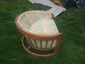 Beautiful wooden chair with cushions excellent condition love seat size fits 2 for Sale in Dublin, OH