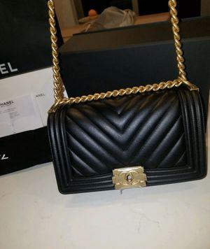 100% Authentic Chanel Chevron Boy Bag / Black and Gold for Sale in Miami, FL