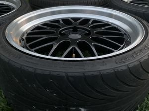"""19"""" staggered BBS stile 5/114.3 lug pattern staggered set of rims and tires for Sale in Gardena, CA"""
