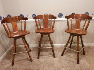Set of 3 bar stools - Real n solid wood for Sale in Morrisville, NC