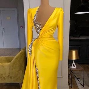 Long Sleeve Evening Dresses Mermaid Prom Gowns For Party 2020 Elegant Beads Satin Celebrity for Sale in Landover, MD
