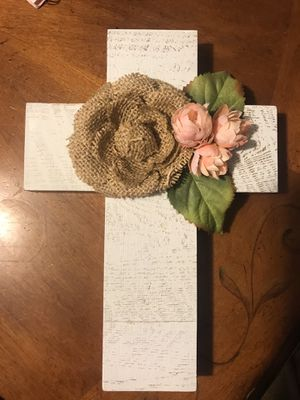 Wooden Cross with Burlap Flower for Sale in Livermore, CA