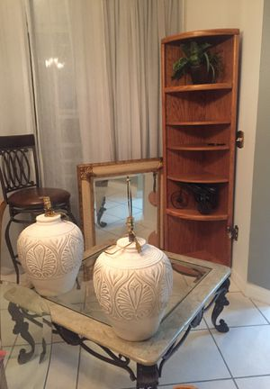 Mirror , 2 lamps , bar stool, corner hutch $20.00 for Sale in Riverview, FL