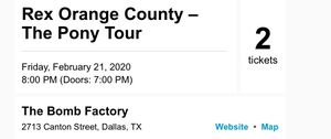 Rex Orange County Dallas 2 tickets, February 21 Concert Show for Sale in Dallas, TX