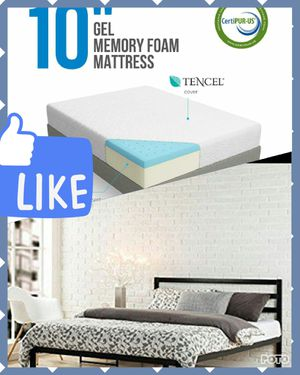 """Queen 15"""" bed frame from Zinus with 10"""" lucid mattress for Sale in Columbus, OH"""