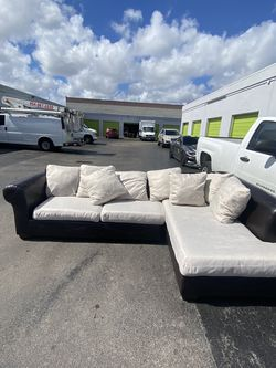 Leather Sectional with Fabric Cushions Sofa Couch 🚚 Free Delivery 🚚 for Sale in Miami,  FL