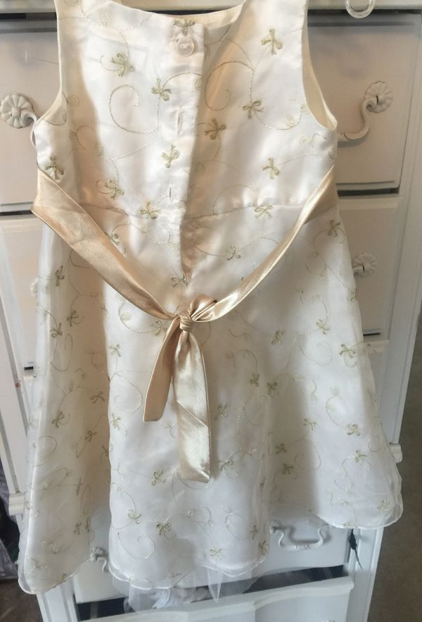 Designer girls Easter or Party dress ivory sateen layered tulle with gold sprays of flowers sleeveless button back size 4 pristine gold sateen sash f