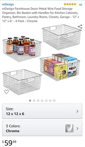 Metal Wire Storage Containers (4-Pack) for Sale in San Bernardino, CA