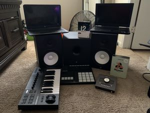 Yamaha HS8 Monitors with Subwoofer, Native Instruments A25 keyboard, Apollo Twin quad, machine mk3 with Komplete 12 plug ins, and reason 10 for Sale in Houston, TX